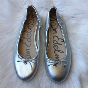 Sam Edelman Silver Leather Ballet Flats 8.5 WIDE